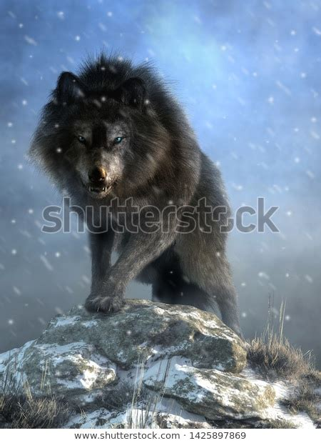 Large Shaggy Dire Wolf Bares Wicked Stock Illustration