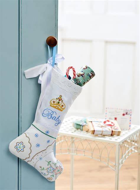 Baby's First Christmas Embroidered Stocking - Free sewing