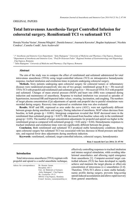 (PDF) Total Intravenous Anesthesia-Target Controlled