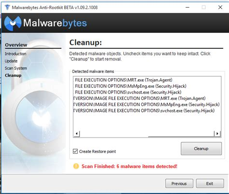 Downloaded malware bytes anti root kit and - Am I infected