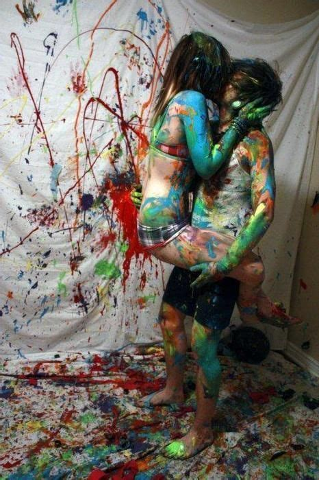 Body painting date night | Paint fight, Scene couples