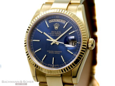 Rolex Day-Date Ref-118238 18k Yellow Gold Blue Stick Dial