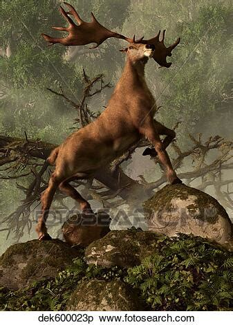 An Irish Elk stands proudly in a dense forest