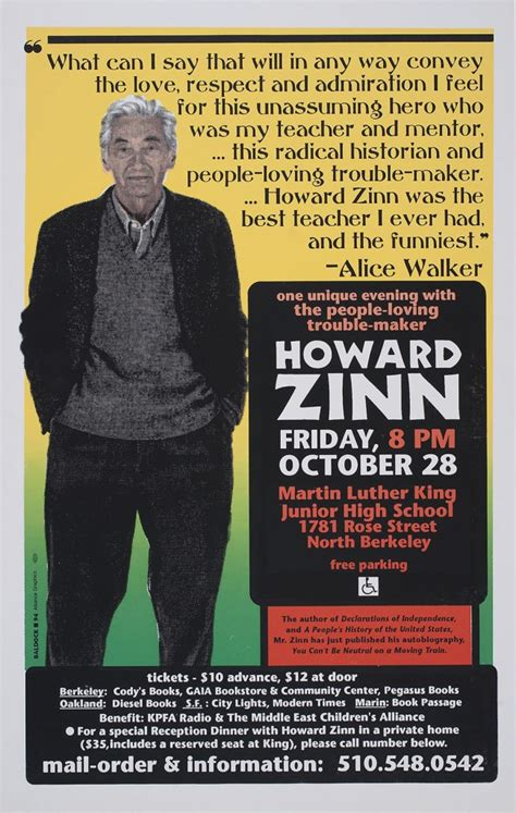 One Unique Evening with Howard Zinn   Oct 1994   Events
