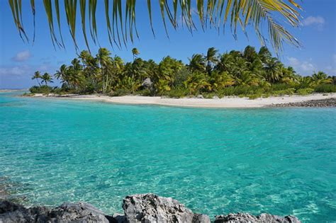 Tropical Islet Turquoise Water French Polynesia Stock